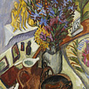 Still Life With Jug And African Bowl Print by Ernst Ludwig Kirchner