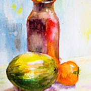 Still Life With Jug And Fruit Art Print