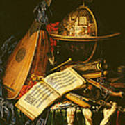 Still Life With Musical Instruments Oil On Canvas Art Print