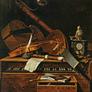 Still Life With Musical Instruments Art Print