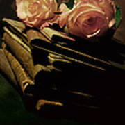 Still Life With Old Books And Two Pink Roses Art Print