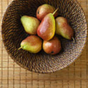 Still Life With Pears And A Rattan Bowl. Print by Diane Diederich