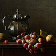 Still Life With Pewter Teapot And Grapes And Pears  Art Print by Diana Amelina