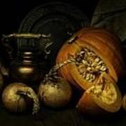Still Life With Pumpkin And Onions Art Print