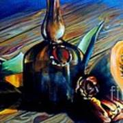 Still Life With Pumpkin And Tulips Art Print
