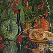 Still Life With Pumpkins And Winter Cherry Art Print
