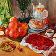 Still Life With Raspberries And Apples Art Print