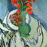 Still Life With Seagulls Poppies And Strawberries Art Print