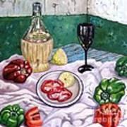 Wine And Capsicum Art Print