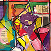 Still Life With Wine And Fruit B Art Print by Everett Spruill