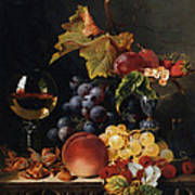 Still Life With Wine Glass And Silver Tazz Art Print by Edward Ladell
