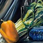 Still Life With Yellow Pepper Bok Choy Glass And Dish Art Print