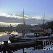 Stockholm City Harbor Dwan Art Print