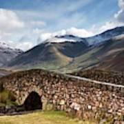 Stone Bridge In Mountain Landscape Art Print
