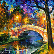 Stone Bridge - Palette Knife Oil Painting On Canvas By Leonid Afremov Art Print