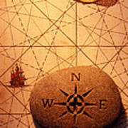 Stone Compass On Old Map Art Print by Garry Gay