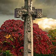 Stone Cross In Fall Garden Art Print