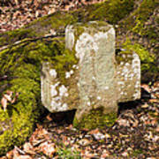 Stone Cross In The Forest Art Print
