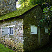 Stone House With Mossy Roof Art Print