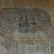 Stone Mountain Mural In Brown Art Print