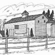 Stone Ridge Barn With Flag Art Print