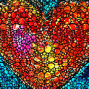 Stone Rock'd Heart - Colorful Love From Sharon Cummings Art Print