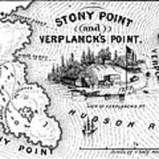 Stony Point Map, 1779 Art Print by Granger