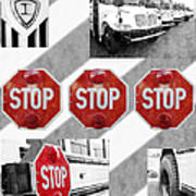 Stop For Students Painterly Bw Red Signs Art Print
