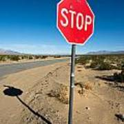 Stop Sign On Indian Ranch Road In Death Valley Art Print