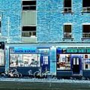 Stores On Ossington In Blue Art Print