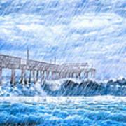 Storm Over The Sea - Tybee Pier Art Print