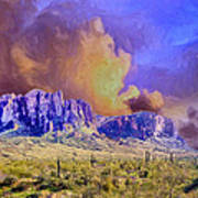 Storm Over The Superstitions Art Print
