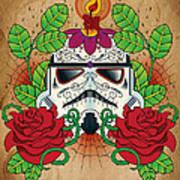 Storm Trooper Sugar Skull Art Print