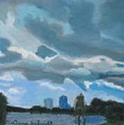 Storms Rolling In Over Lake Highland In Orlando Art Print