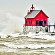 Stormy At Grand Haven Light Art Print