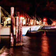Stormy Night In The Marina - Outer Banks Art Print by Dan Carmichael
