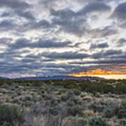 Stormy Santa Fe Mountains Sunrise - Santa Fe New Mexico Art Print