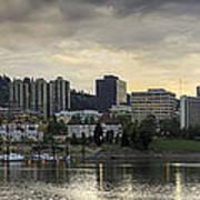 Stormy Sky Over Portland Skyline Panorama Art Print