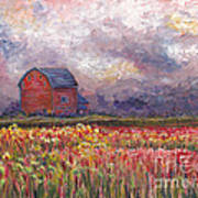 Stormy Sunflower Farm Art Print