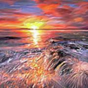 Stormy Sunset At Water's Edge Art Print