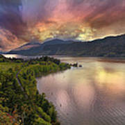 Stormy Sunset Over Columbia River Gorge At Hood River Art Print
