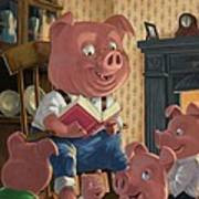 Story Telling Pig With Family Art Print