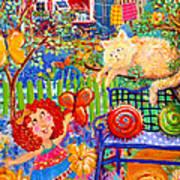 Storybook Girl And Cat Art Print