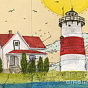 Stratford Pt Lighthouse Ct Nautical Chart Map Art Art Print