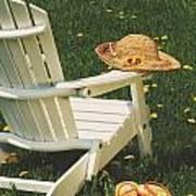 Straw Hat On Chair Art Print