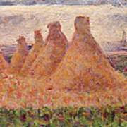 Straw Stacks Art Print by Georges Pierre Seurat