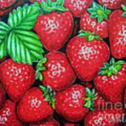 Strawberries Painting Oil On Canvas Art Print by Drinka Mercep
