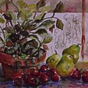 Strawberry Afternoon W/ Pears Art Print by Paula Marsh