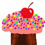 Strawberry Cupcake Print by Andee Design