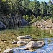 Stream And Rocks At Bavella In Corsica Art Print